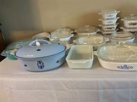 Vintage Pyrex and Corningware.