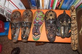 Wood Masks, Carvings, Unique, Africa, Asia, Indonesia, Ghana, Mali, Rare, West Africa