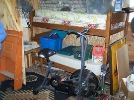 BUNK BEDS, EXERCISE BIKE, PAINTED ARTS & CRAFTS DESK