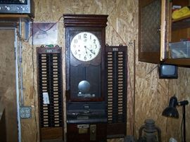 OLD TIME PUNCH CLOCK & PUNCH CARD SLOTS