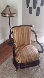 2  Silk Side Chairs a Pair Solid wood Laquered with Gold feet  $300.00 each