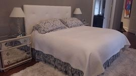 Simmons Beauty Rest Mattress $150.00                 Queen Bed Tufted headboard and frame $900                                                                               pair of 2 mirrored dressers 3 drawers 14x32x29       $350 each