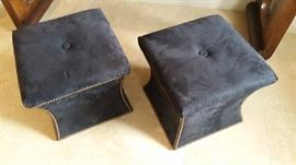 2 Dark Grey suede ottomans