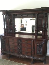 French Style - Beautiful Mirrored Sideboard Buffet and Bar - Hand carved Beautifully Detailed