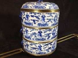 Blue on White Tiffin box or Lunch box Vintage