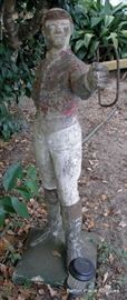 Older Concrete Lawn Jockey with Metal Horse tie