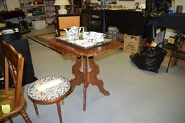 Eastlake Antique Side or End Table, Small Tile Table or Mosaic Table
