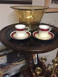 Vintage demitasse cups and glass bowls