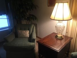 Beautiful Leviton Lead Crystal Lamp with brass base.