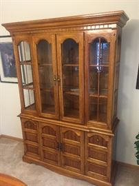 Great condition.  Lighted hutch with storage below.