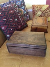 English boxes, Dhurrie oriental rug pillows