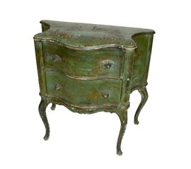 Green Victorian 2drawer Table
