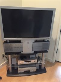 Panasonic television with built in speakers stand and dvd $60