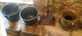vintage cook pots, fire place tools, spittoon.