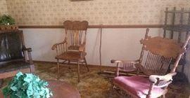 Mission rocker, Oak arm chair, Eastlake style rocker.
