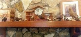 Mantel Clock, wooden animals, brass animals.
