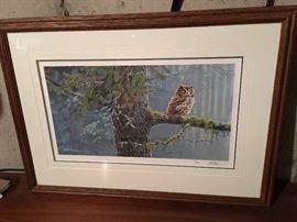 Marc Barrie (Canadian 20th Century)  Whoo Me  Screech Owl  Half tone.  17/500  AV $50-$100