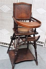 Antique High Chair converts to walker/stroller