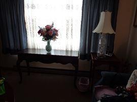 Sofa Table, Flowers, Lamp