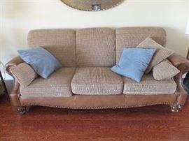 La-Z-Boy leather and corduroy sofa
