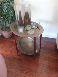 double brass tray table on wood base