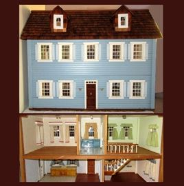 Fabulous Large Wooden Doll House with Built-Ins, Curtains, Lamps, Staircase & Folding Attic Steps