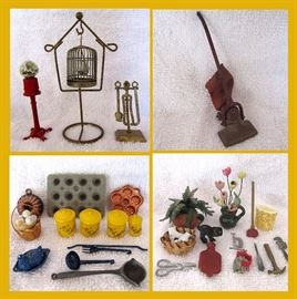 Great Doll House Accessories; Gumball Machine, Birdcage w/Bird, Vintage Made in England Metal Vacuum and Wonderful Minuscule Pieces