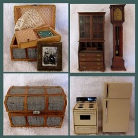 Great Doll House Furniture including a Trunk with Bridal Veil, Pearl Necklace and Antique Framed Photo, Secretary, Grandfather Clock and Kitchen Appliances; There are more pieces than pictured