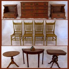 Great Doll House Furniture chest of drawers with real drawers, matching nightstands, set of 4 chairs, and nice tables