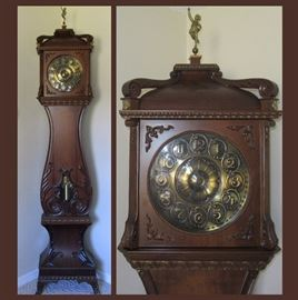 Tall Case Clock With German Movement, Beautiful Detail and in Running Order