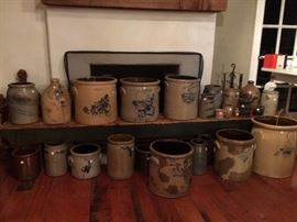 Salt glaze pottery with cobalt decorations
