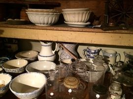 Blue spongeware, iron stone pottery and hand blown glass jars