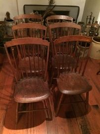 Set of six (6) period Step Down Windsor chairs