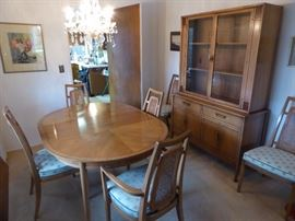 Drexel dining table 2 leaves and 6 chairs $250 (sale price now only $125) matching china hutch $250 (sale price now only $125)