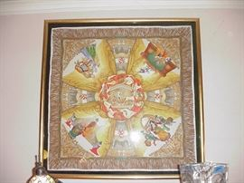 Gucci scarf depicting famous operas including Carmen, Tristan and Isolde, Aida, framed