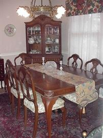 Gorgeous French style mahogany table, six chairs and china cabinet on cabriole legs