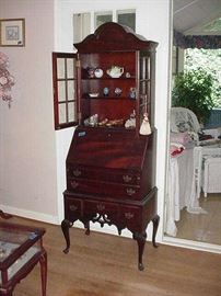 Drop front secretary with bookcase or display above