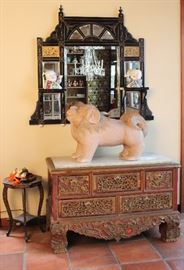 Aesthetic Movement mirror & carved 1890's South China chest