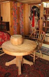 American oak table, hoop-back chair, turn-of-the-century kimono