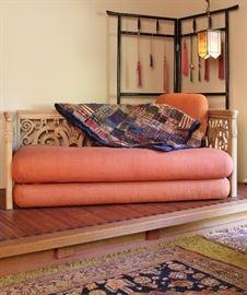 Carved daybed/sofa & Taisho-period Kimono rack
