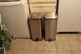 Pair flip-up trashcans