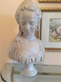 Classic detailed bust, glass and brass demilune table