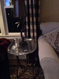 Silver tray table and antler lamp