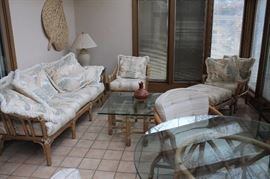 McQuire vintage rattan sofa, chairs, ottoman and tables.
