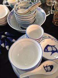 Antique, China: circa 1900 - 1920 translucent porcelain rice bowls and blue & white Koi fish porcelain dish set for 4.