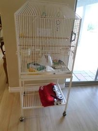 Aviary/Bird/Parrot  cage on brass wheels with toys-$95