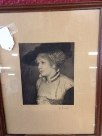 Signed black and white framed victorian lady