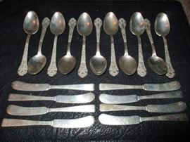 SOME OF THE STERLING FLATWARE