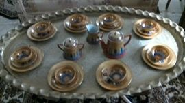 MCM brass tray table with tea set