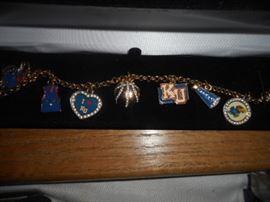 Danbury Mint Kansas Jayhawks  Charm Bracelet